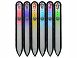 Color glass nail files with Swarovski crystals