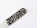 Glass nail file with animal print label