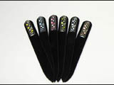 Clear glass nail files with Swarovski crystals