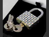 Middle luggage locks decorated by Mont Bleu with Swarovski crystals