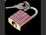 Small luggage locks decorated by Mont Bleu with Swarovski crystals