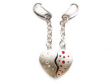 Two heart shaped key rings with Swarovski crystals